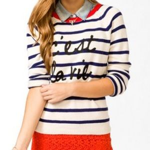 F21 C'est La Vie Graphic Stripe Sweater Nautical N